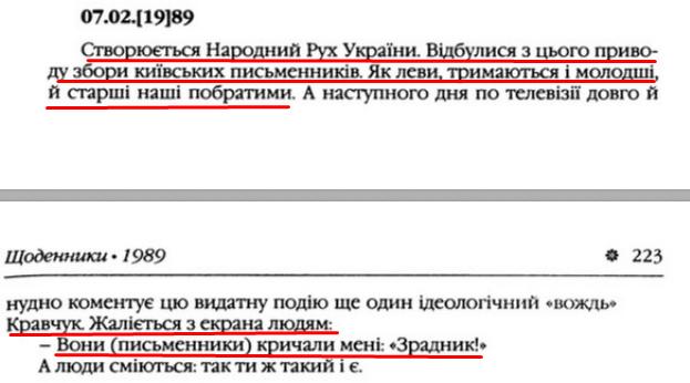 """О. Гончар, """"Щоденники"""", ст. 222-223 , Том III, 2003 р."""