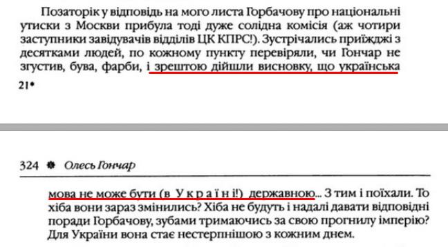 """О. Гончар, """"Щоденники"""", ст. 323 , Том III, 2003 р."""