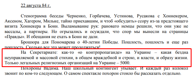 Дневники А.С. Черняева, 1984 г.
