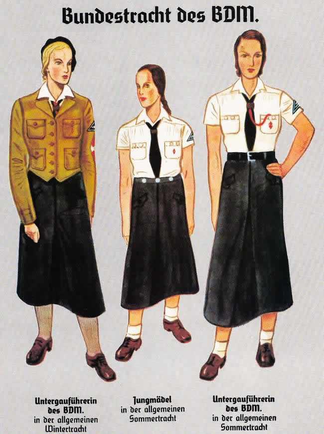 Представительницы Союза немецких девушек различных возрастов в форме (иллюстрация из книги) - 1933 год
