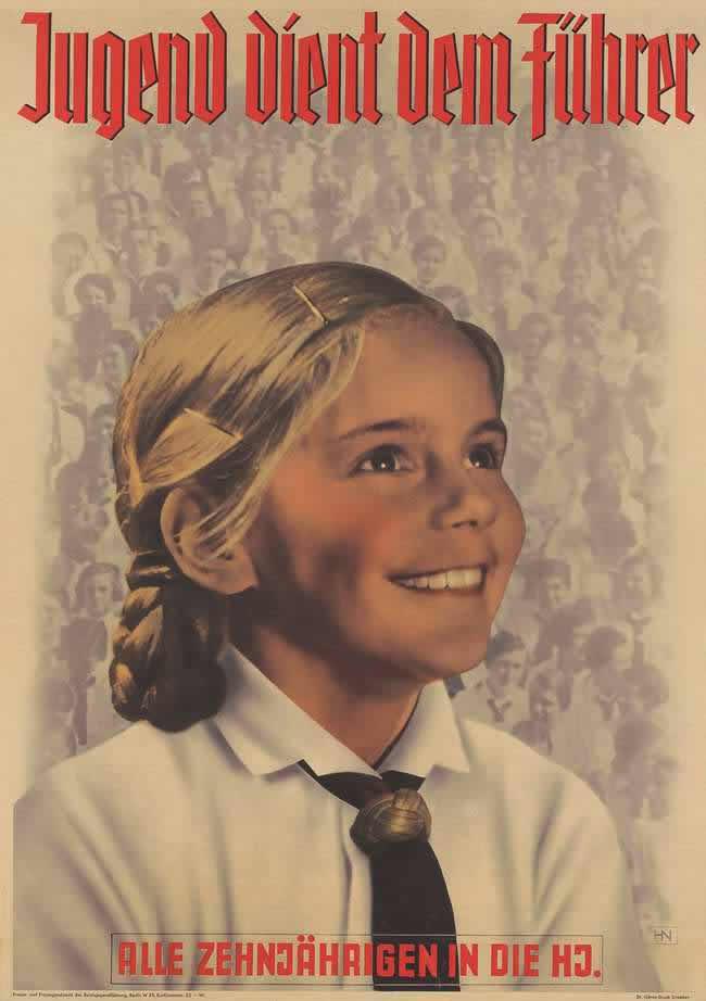 Молодежь служит фюреру! Все дети, достигшие 10-ти лет - вступайте в гитлерюгенд (1936 год)