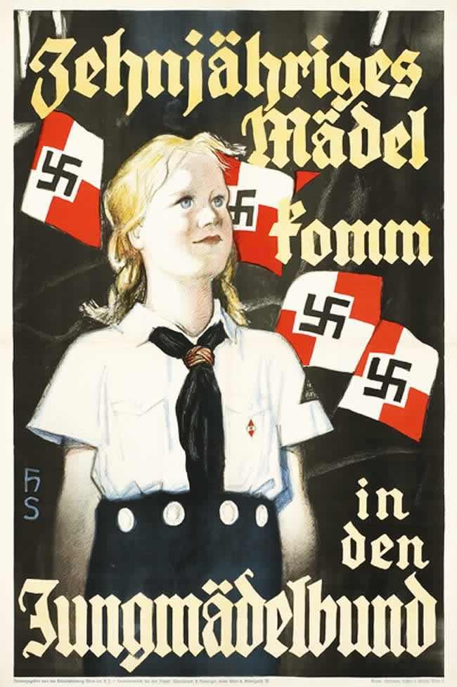Все девочки, достигшие 10-ти лет, должны вступить в Союз немецких девушек. Австрийский плакат (1938 год)