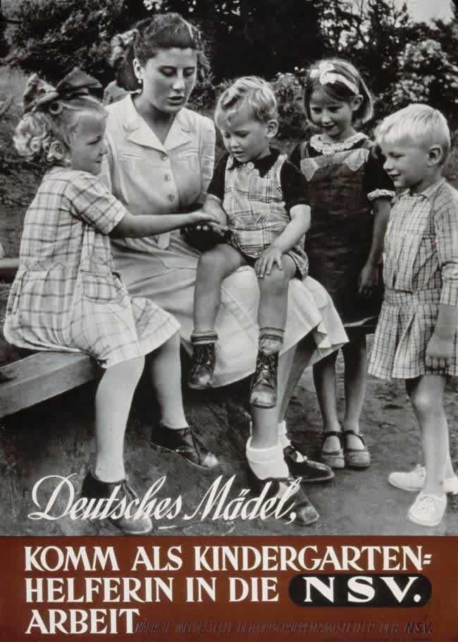Немецкие девушки, идите работать в детские сады помощницами воспитательниц (1941 год)