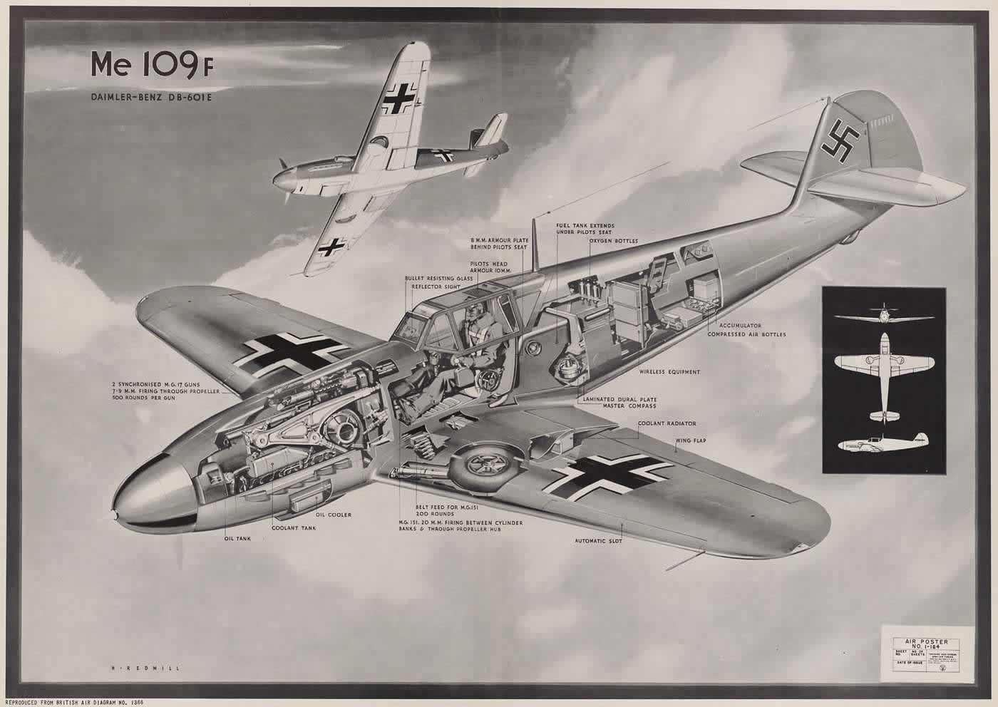Немецкий истребитель Мессершмитт Me 109F с авиационным двигателем Daimler-Benz DB-601E