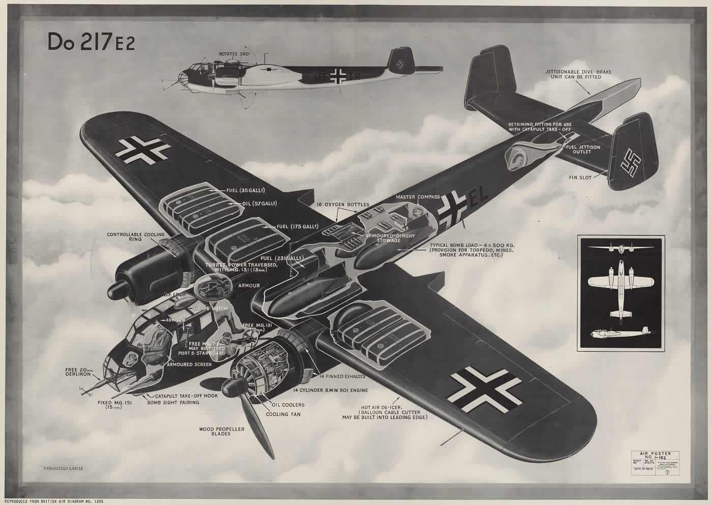 Немецкий средний бомбардировщик Дорнье Do 217 E2
