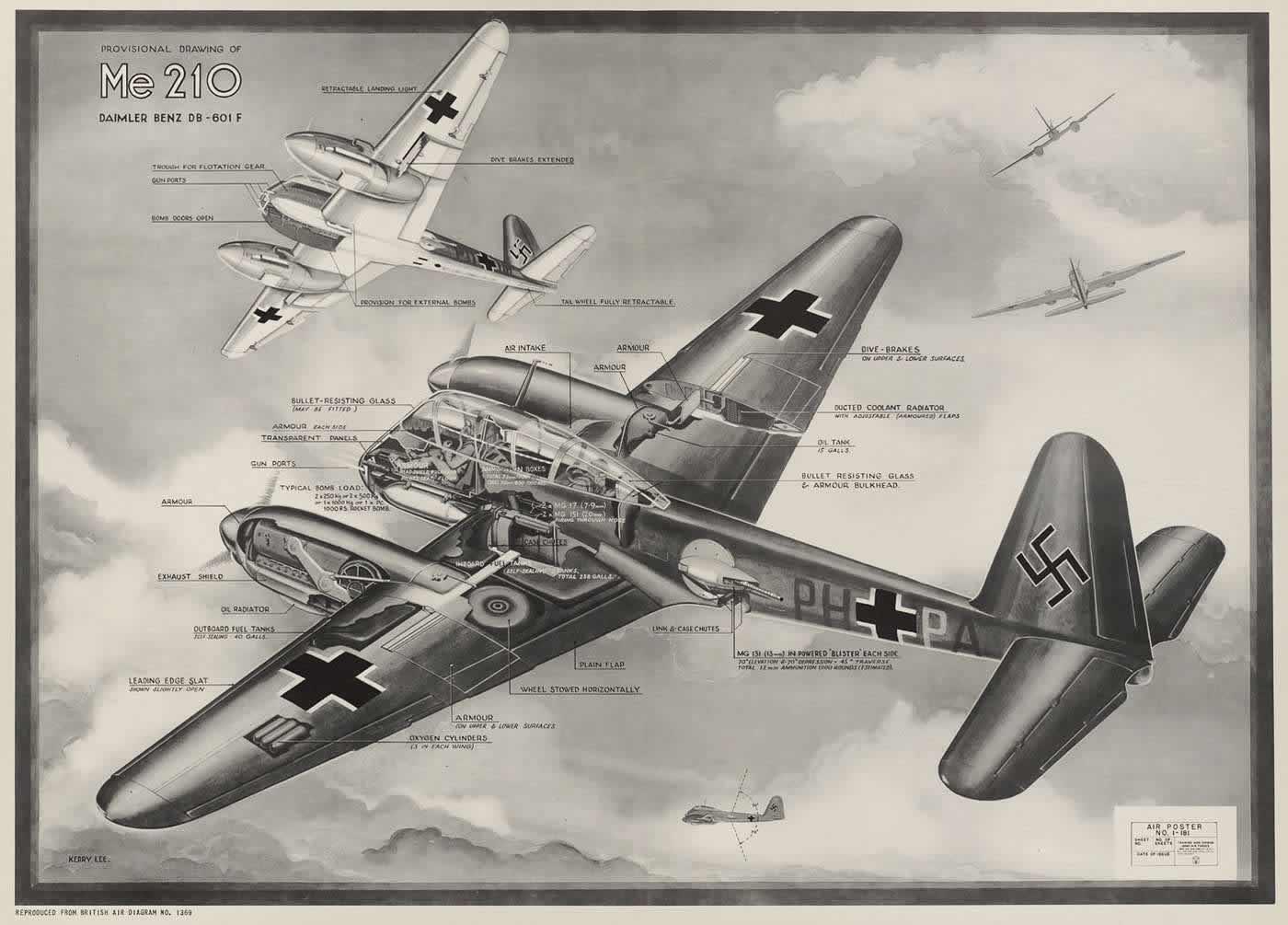 Немецкий тяжелый истребитель Мессершмитт Me 210 с авиационным двигателем Daimler-Benz DB-601F