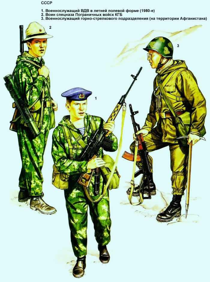 Советский Союз - солдаты мотострелковых подразделений, Воздушно-десантных и Пограничных войск