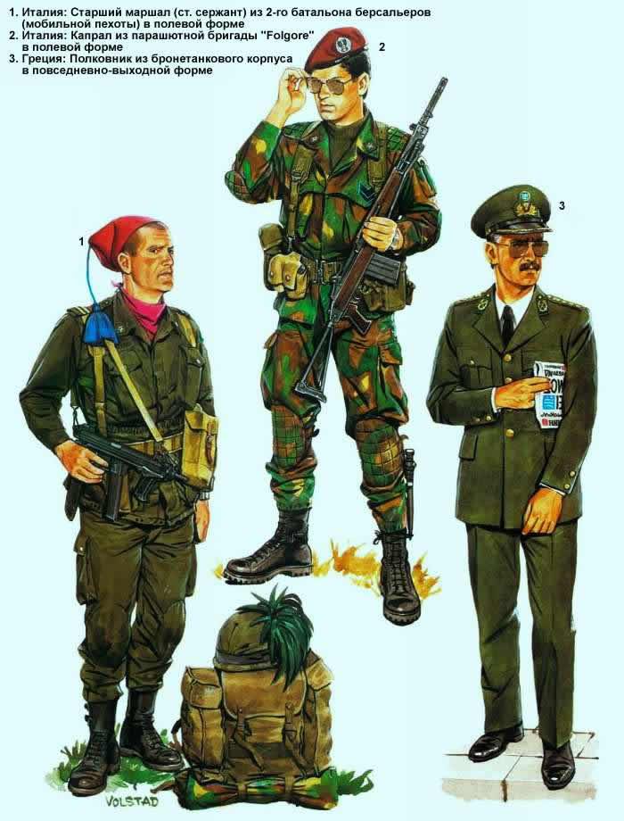 Военнослужащие армий Италии и Греции