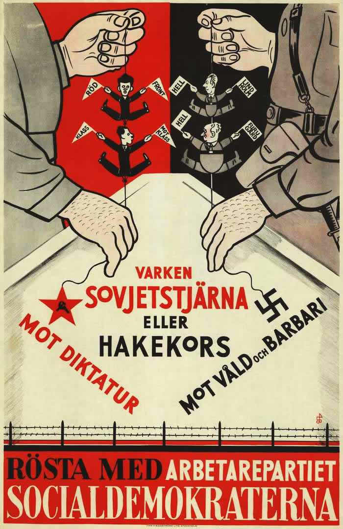 Предвыборные лозунги шведской социалистической партии - Нет советским звездам! Не допустим наступления диктатуры! Не будем пойманными на крючок в виде нацистской свастики! Мы против наступления варварства! (Швеция, 1934 год)