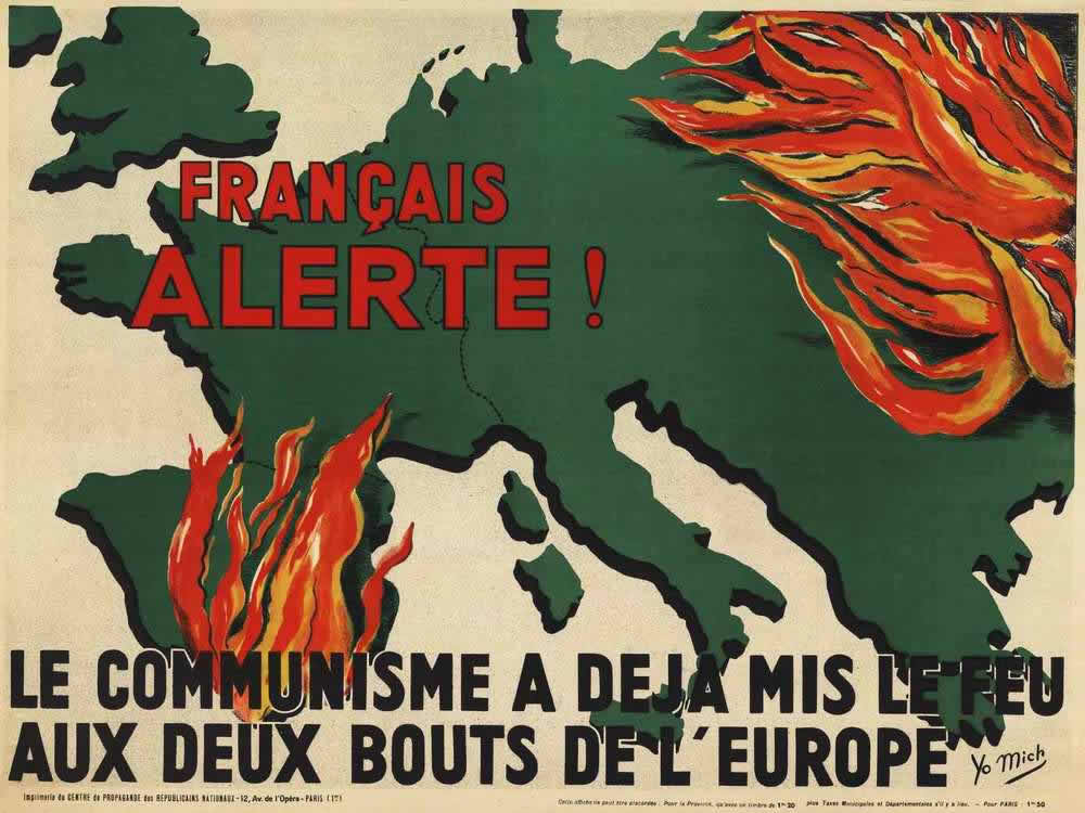 Предупреждение всем французам - Коммунисты уже успели поджечь Европу с двух концов (Франция, 1936 год)