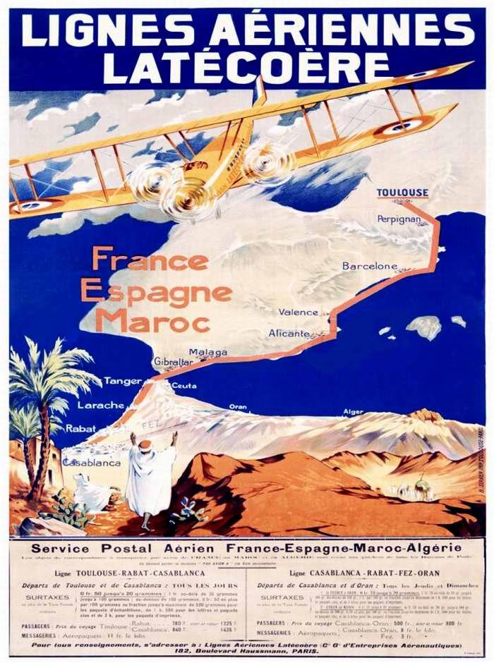 Авиакомпания Societe des lignes Latecoere - авиапочтовые перевозки по маршруту Франция - Испания - Марокко - Алжир (1926 год)