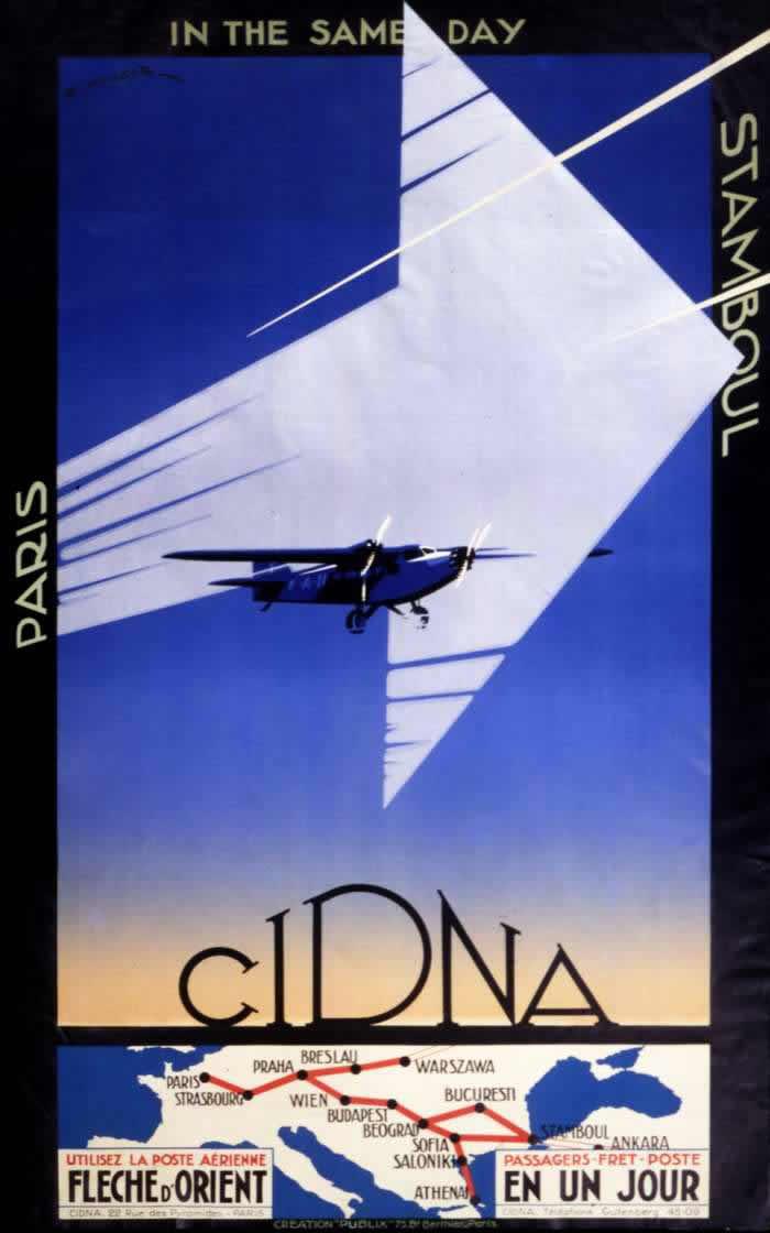 Авиакомпания CIDNA - из Парижа в Стамбул в течении дня (1931 год)