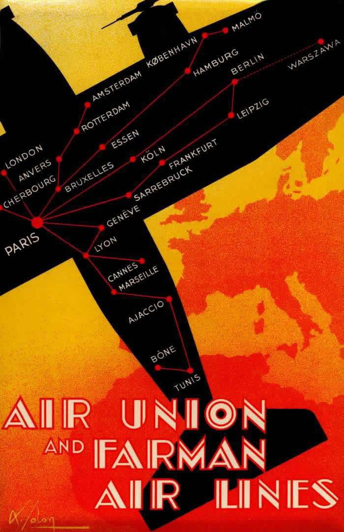 Авиакомпании Aur Union и Farman - полеты по разным маршрутам в Великобританию, Центральную и Восточную Европу, юг Франции и Северную Африку (1932 год)