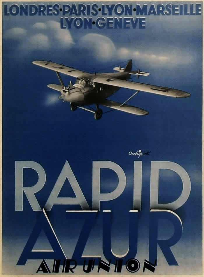 Авиакомпания Aur Union. Голубая молния - скоростные перелеты по маршрутам Лондон - Париж - Лион - Марсель и Лион - Женева (1932 год)
