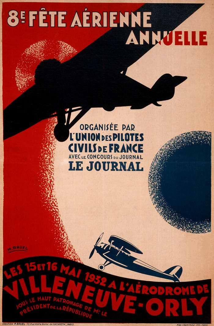 Плакат-приглашение посетить 8-й ежегодный Воздушный праздник на парижском аэродроме Орли в честь Дня национальной авиации (май 1932 года)