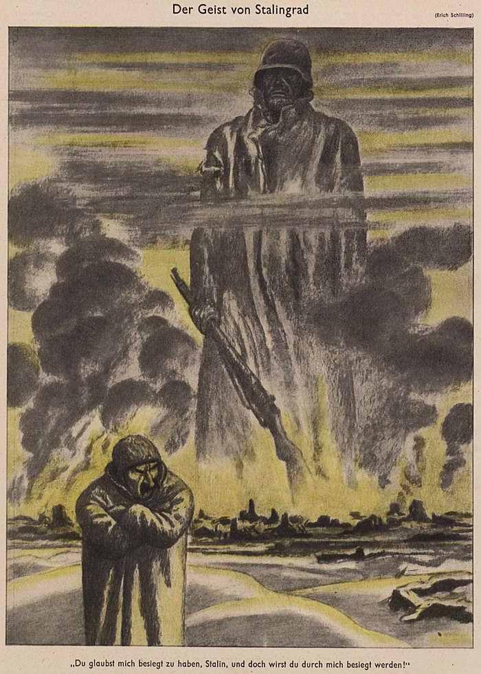 Дух Сталинграда - Серп постоянно утончается. Сталин, ты думаешь, что победил меня. Но все равно ты будешь побежден мной (Simplicissimus)