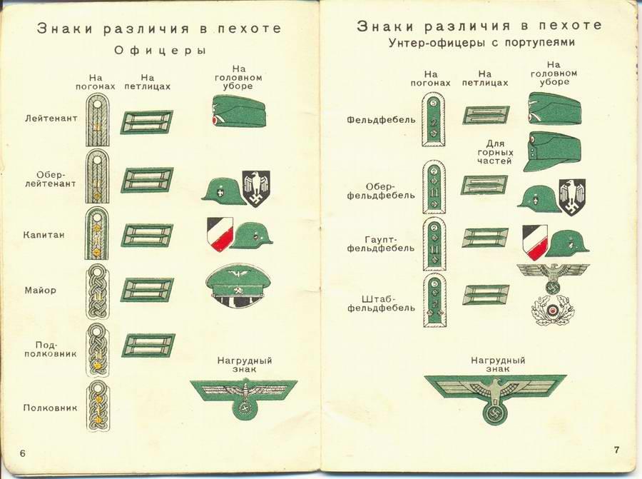 Знаки различия в пехоте - офицеры и унтер-офицеры