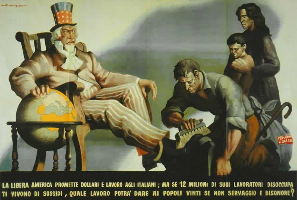 США обещают итальянцам работу и деньги. Но если в этой стране на пособие по безработице живут 12 миллионов своих собственных граждан, то та работа, которую американцы станут давать представителям покоренных народов будет основываться на проявлении ими рабской покорности и бесчестия