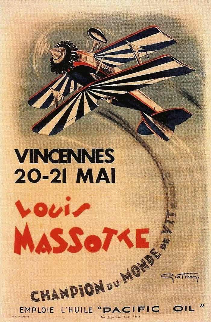 Показательные выступления чемпиона мира в полетах на скорость Louis Massotte в мае 1933 года в Венсене (пригород Парижа)