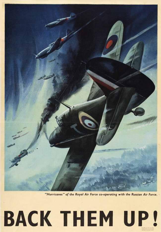 Британские Харрикейны в ходе воздушного боя вместе с истребителями военно-воздушных сил СССР атакуют группу немецких Юнкерсов