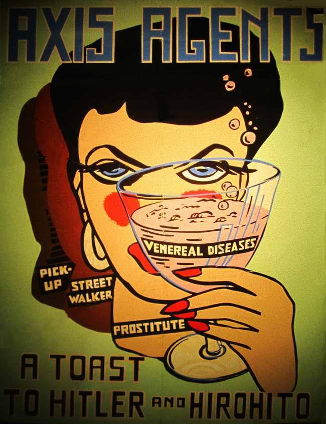 Агенты врага Случайная связь, Бесцельное времяпрепровождение и Проститутка поднимают бокал с букетом венерических заболеваний за Гитлера и Хирохито