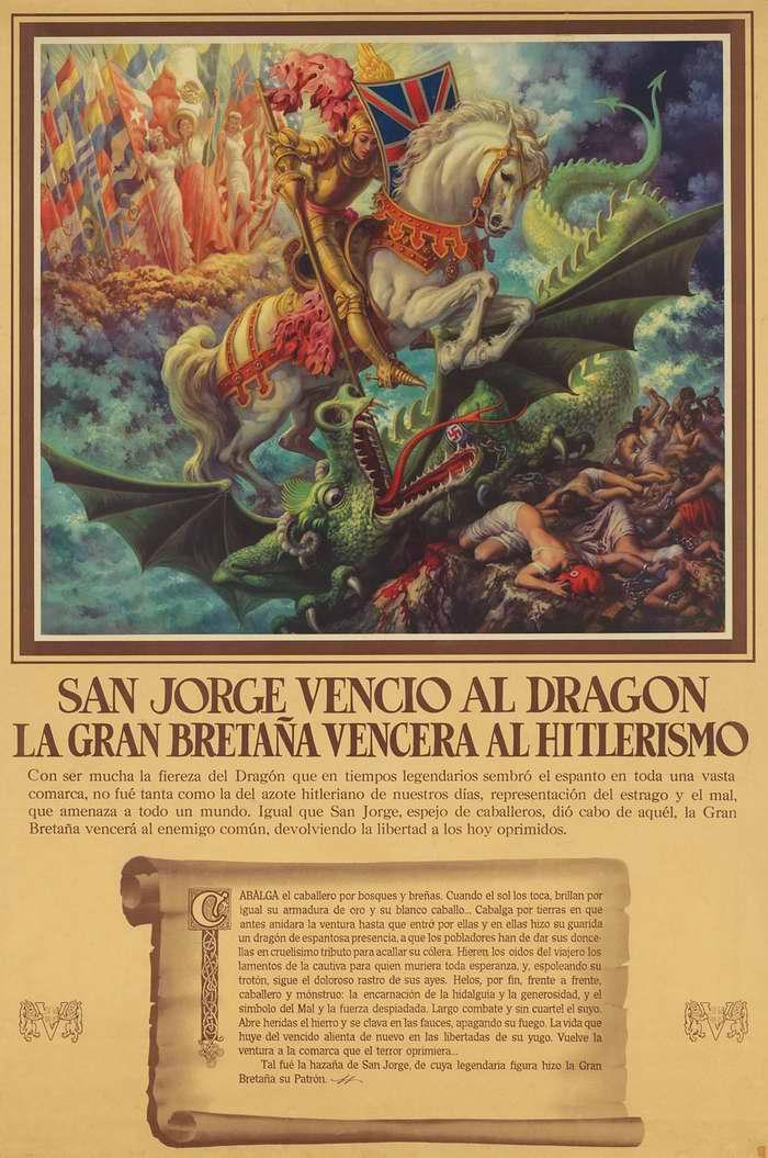 Сан-Хорхе (испан. святой Георгий) со щитом Великобритании наносит смертельный удар дракону гитлеризма