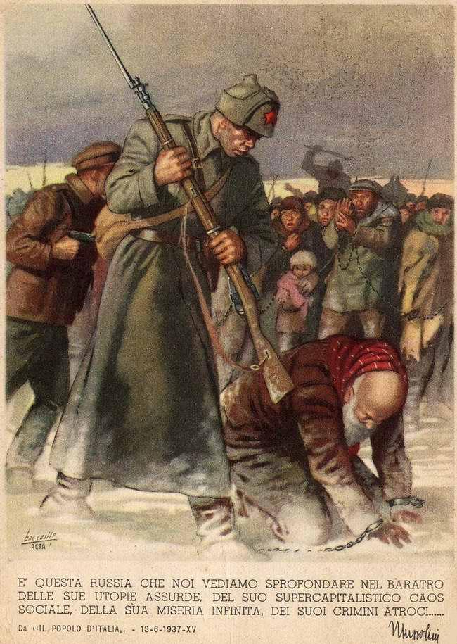 Эта Россия, которую мы видим, погружается в бездну своей абсурдной утопии и своих бесконечно чудовищных преступлений - Бенито Муссолини