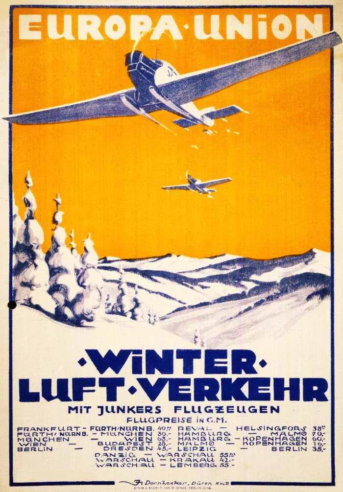 Зимние пассажирские авиаперелеты самолетами Юнкерс между различными городами Германии