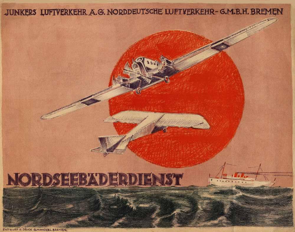 Авиакомпания Norddeutsche Luftverkehr (г. Бремен). Обслуживание северных морских курортов - воздушные перевозки самолетами Юнкерс