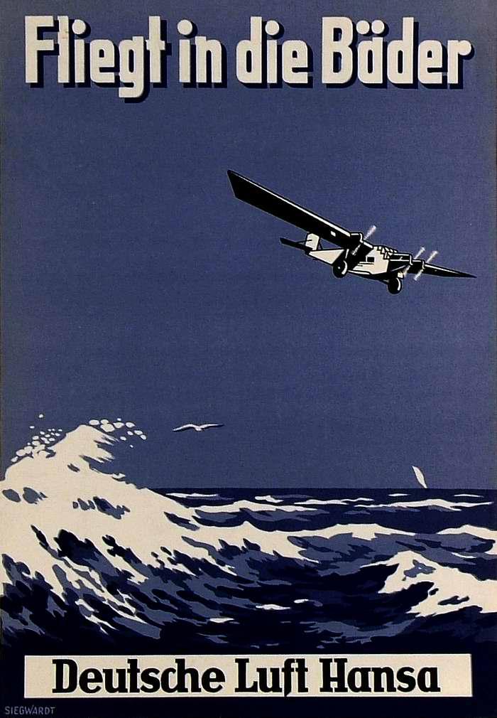 Летайте на купальные курорты самолетами немецкой Lufthansa (1928 год)