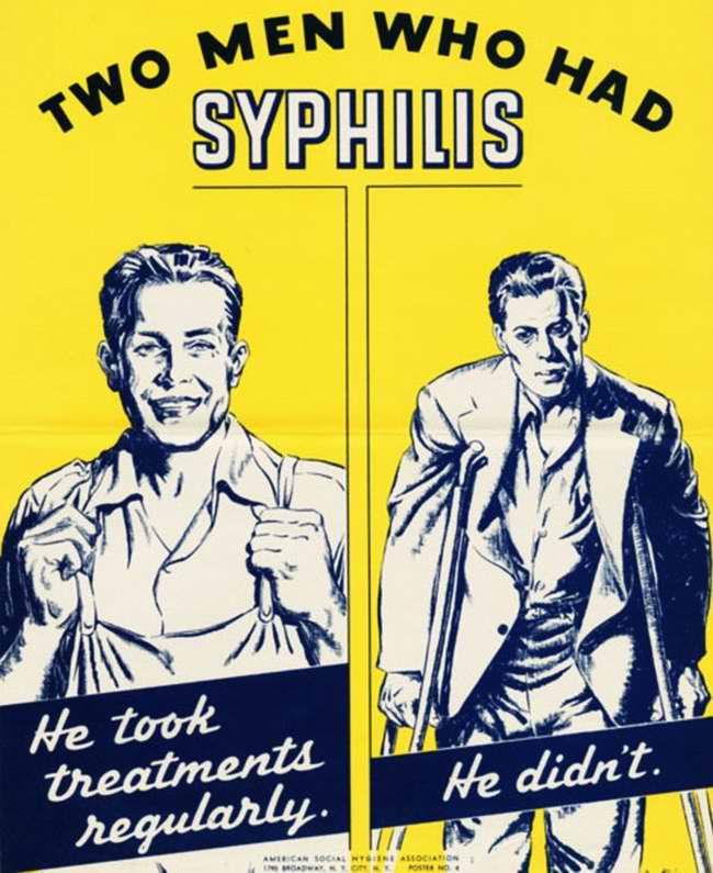 Два мужчины, которые переболели сифилисом. Этот прошел курс лечения, а другой нет