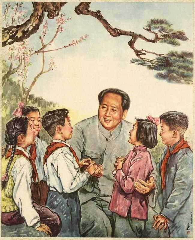 Дети прислушиваются к словам Председателя Мао