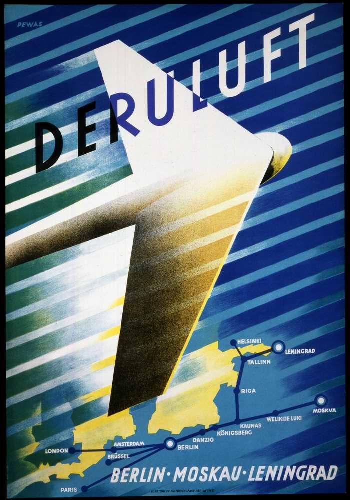 Авиакомпания Deruluft (Deutsche-Russische Luftverkehrs) - полеты по маршрутам Берлин - Москва и Берлин - Ленинград