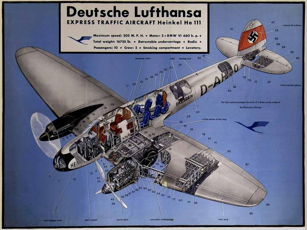 Хейнкель He-111 - пасажирский авиалайнер авиакомпании Lufthansa