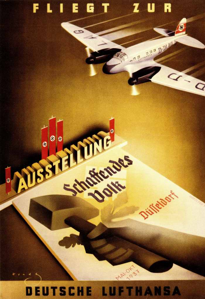 Летайте с авиакомпанией Lufthansa - Выставка народных достижений в Дюссельдорфе в мае - октябре 1937 года
