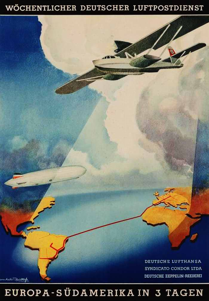 Из Европы в Южную Америку за 3 дня - Немецкая Lufthansa, Syndicato Condor и Deutshe Zeppelin-Reederei