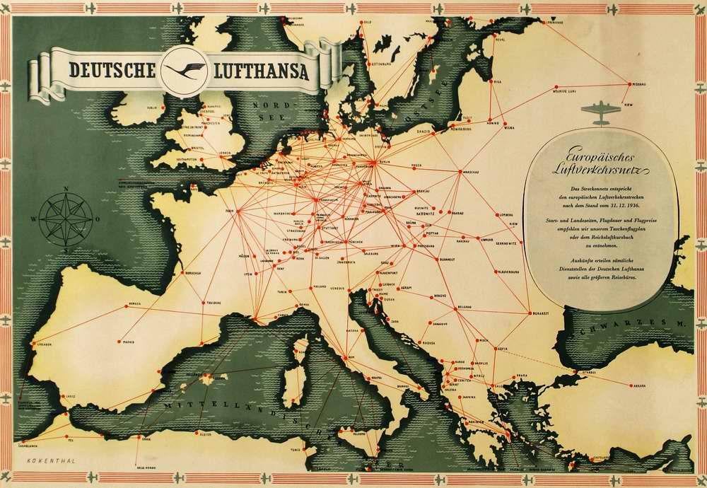 Авиационные маршруты немецкой Lufthansa по всей Европе