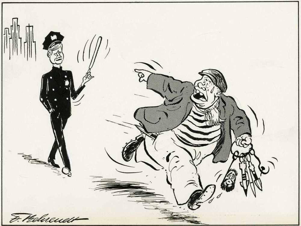 Убегающий преступник Хрущев кричит в сторону полицейского Кеннеди: Держи вора
