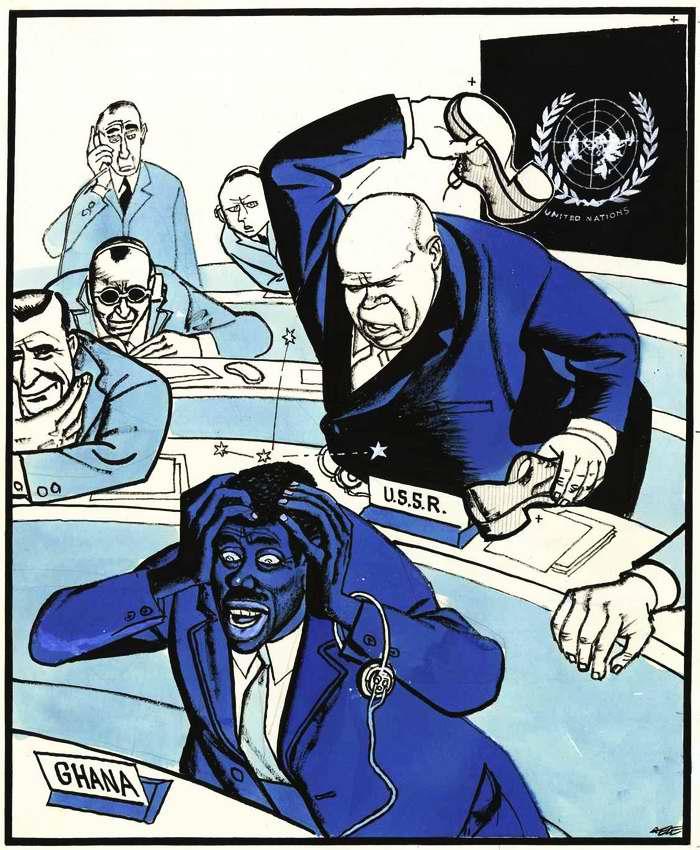 Хрущев стучит ботинком по столу во время заседания 15-й ассамблеи ООН в целях сорвать попытку обсуждения венгерского вопроса