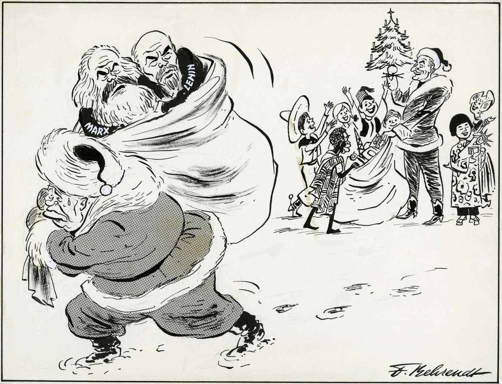 Советский лидер Никита Хрущев в роли Деда Мороза с мешком никому не нужных коммунистических подарков
