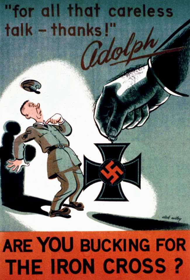 Гитлер говорит спасибо за ведение беспечных разговоров! Ты тоже хочешь получить от него в награду нацистский Железный крест?