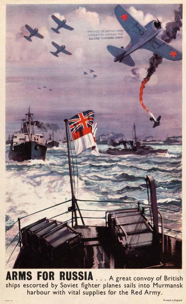 Оружие для России - британский транспортный конвой в сопровождении советских истребителей приближается к гавани Мурманска (Великобритания)