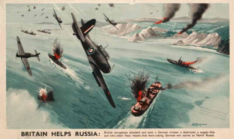 Британия помогает России: британские самолеты бомбят немецкие корабли на российском севере (на подходе к Кольскому полуострову)