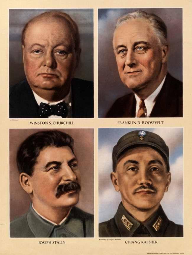 Уинстон Черчилль, Франклин Делано Рузвельт, Иосиф Сталин и Чан Кайши (Великобритания)