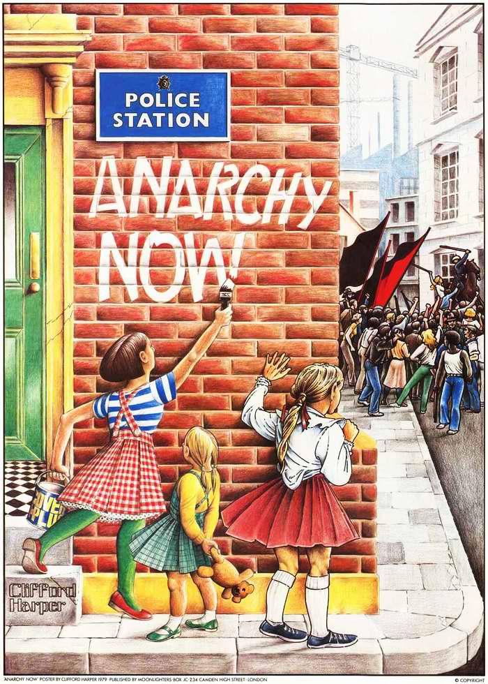 Пусть наступит анархия - детская надпись перед входом в полицейский участок - (Великобритания)