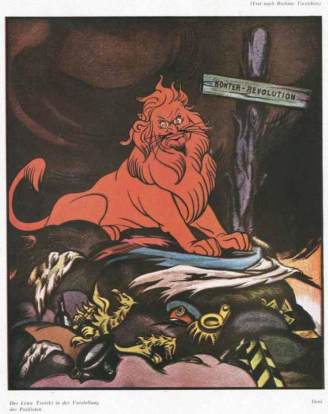 Красный лев Троцкий на могиле контрреволюции (РСФСР, 1922 год)