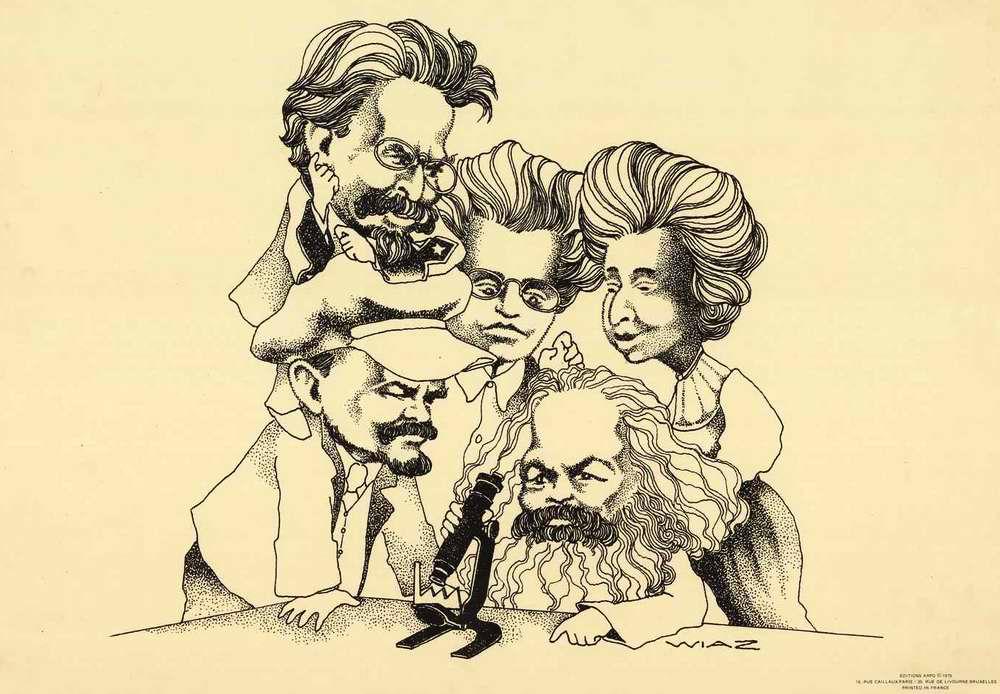 Карл Маркс, Антонио Грамши, Владимир Ленин, Роза Люксембург и Лев Троцкий пытаются под микроскопом разглядеть современные результаты своей былой деятельности (Нидерланды, 1975 год)