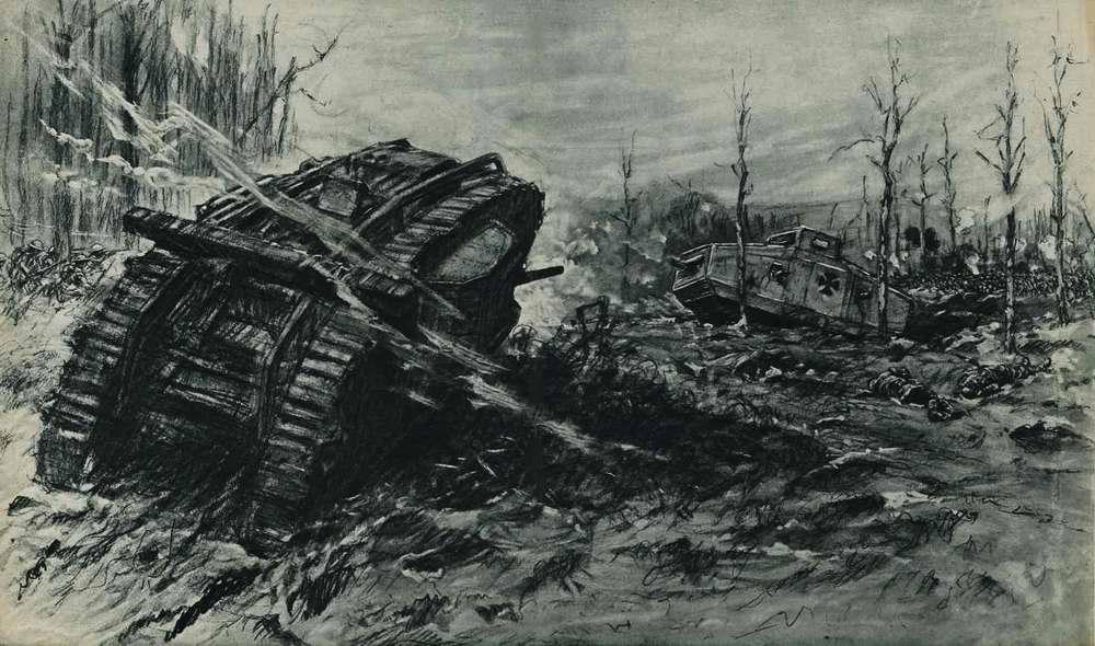 Атака германских войск на позиции британской армии во время сражения на реке Сомме