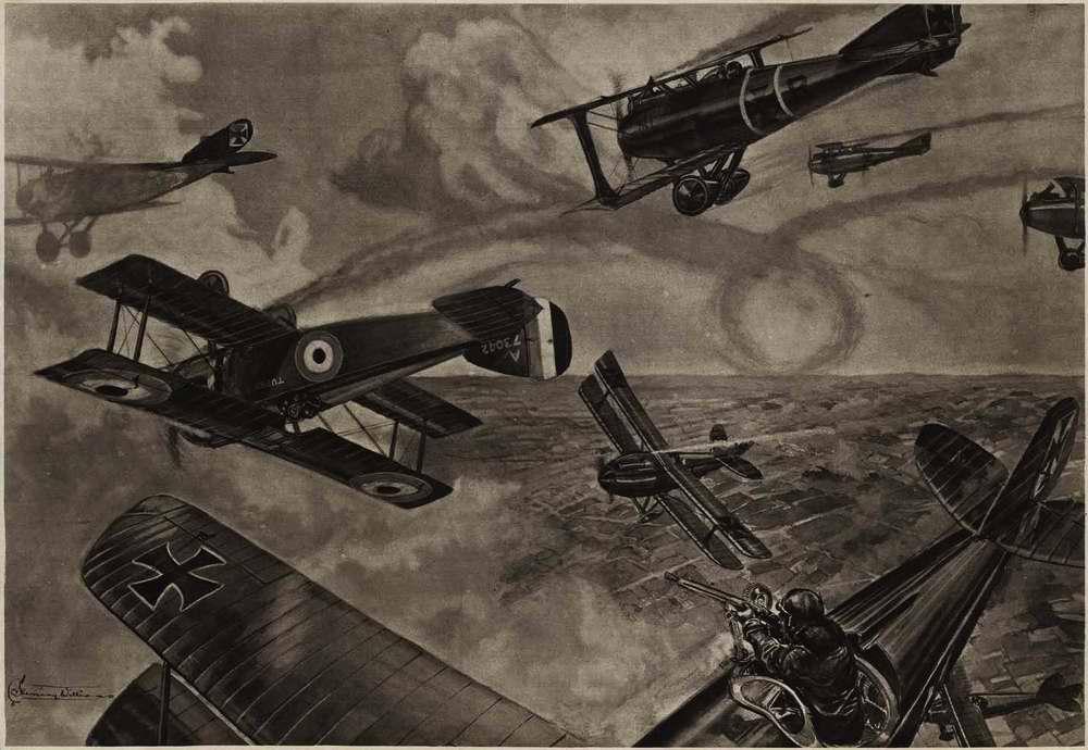 В ходе воздушного боя германских летчиков против британских