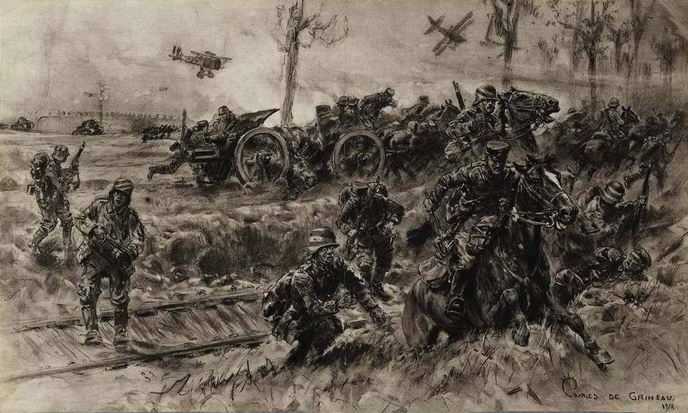 Атака британских аэропланов на походные порядки германских войск